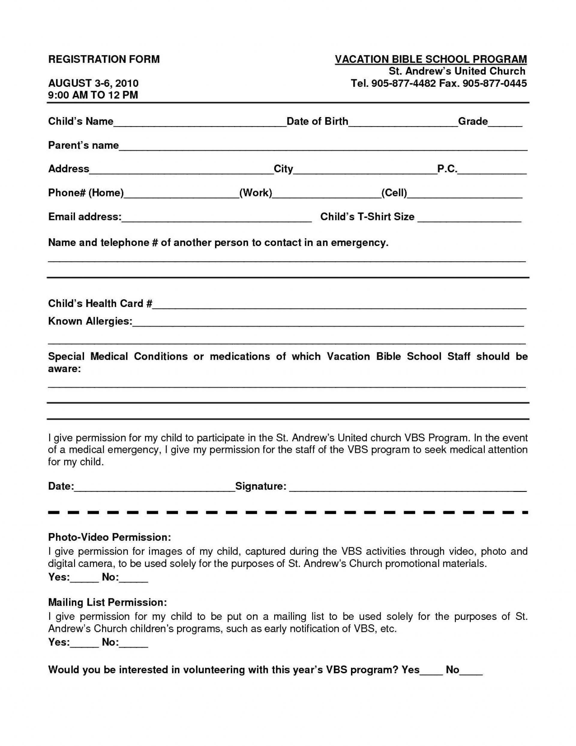 023 School Registration Form Template Word 102813 Ideas Free Throughout School Registration Form Template Word