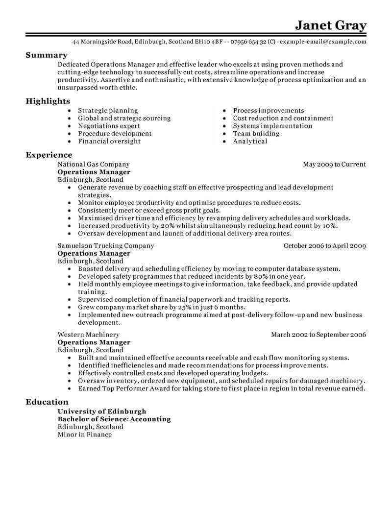 11 Amazing Management Resume Examples   Livecareer Throughout Operations Manager Report Template