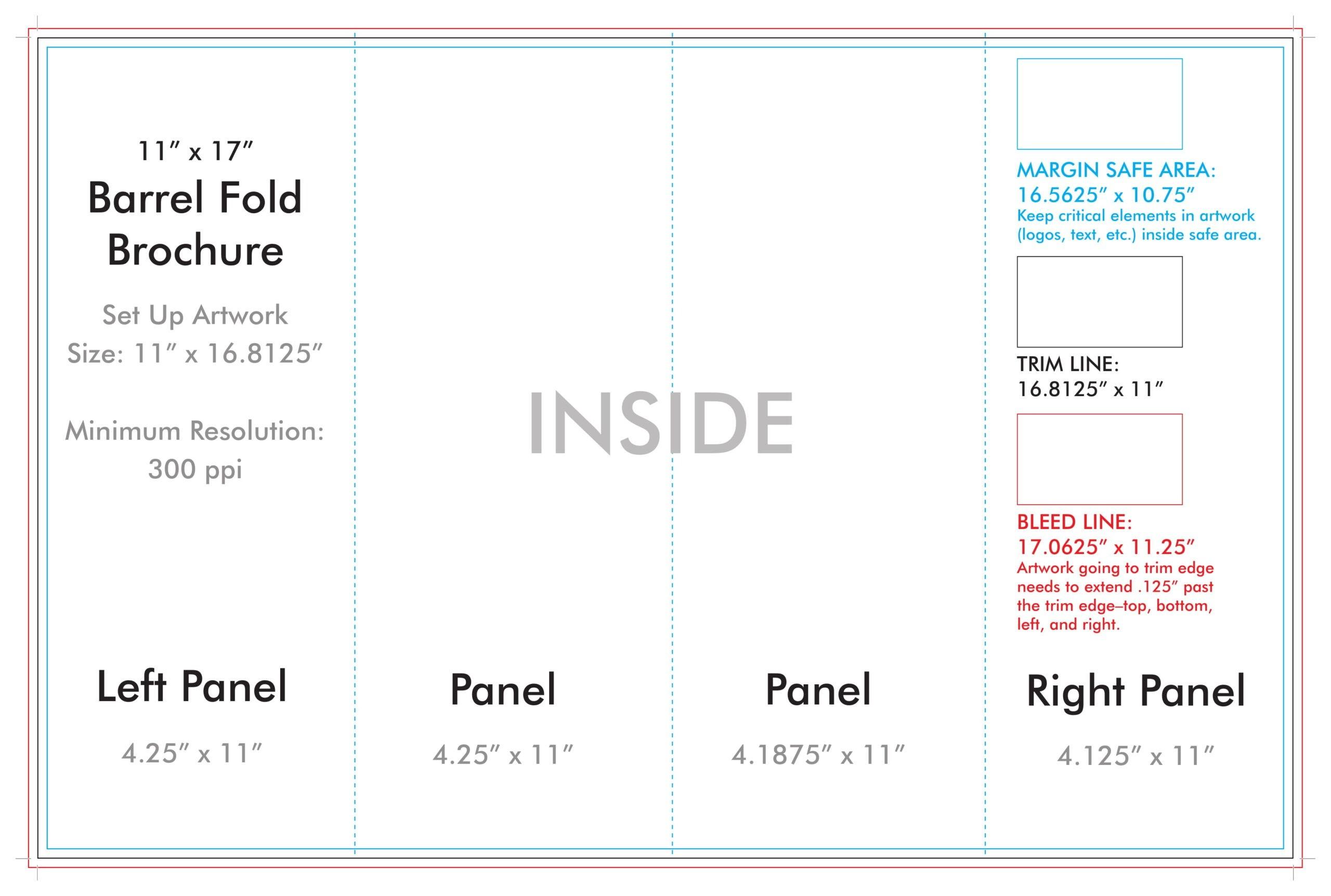 "11"" X 17"" Barrel Fold Brochure Template - U.s. Press for 11X17 Brochure Template"