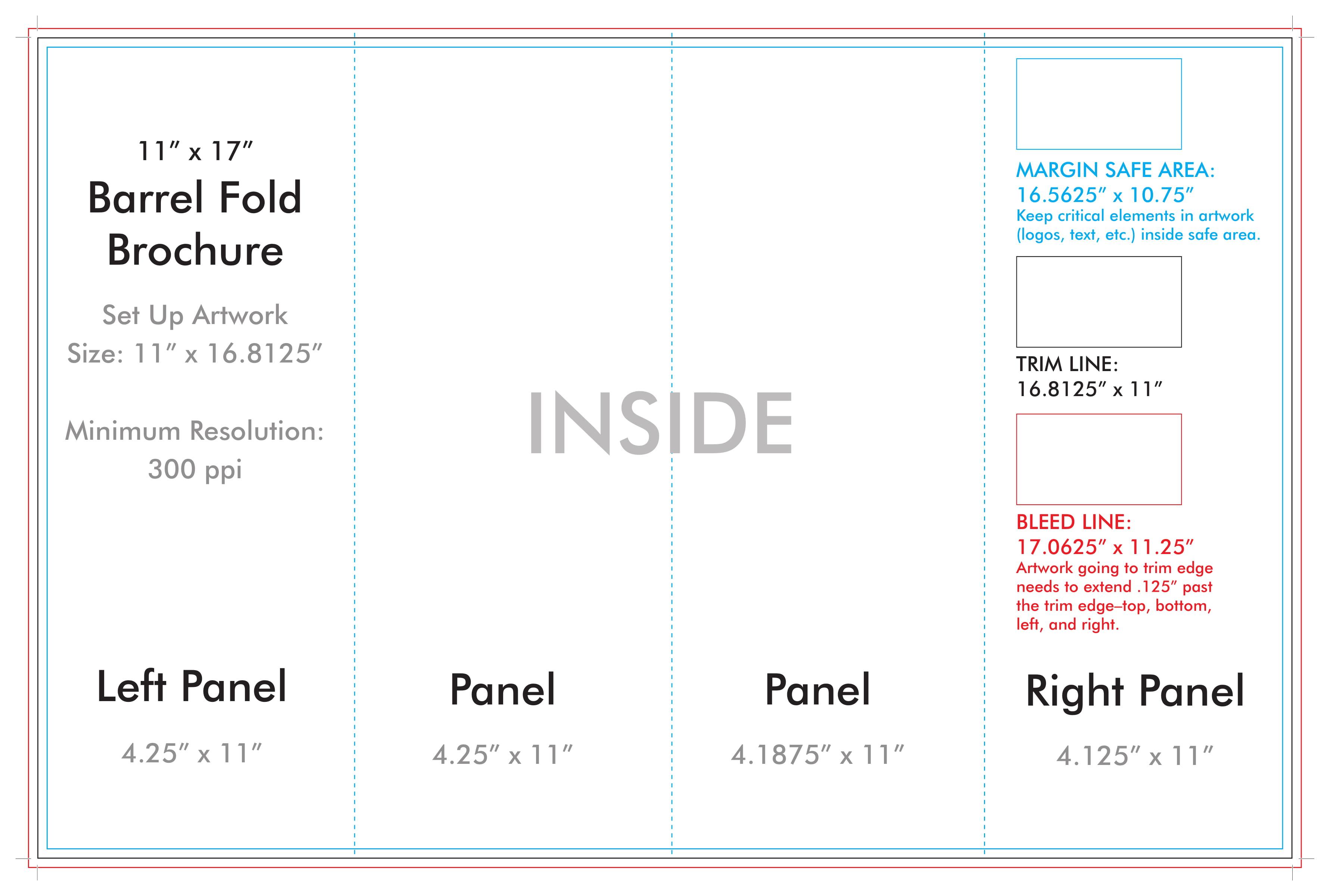 "11"" X 17"" Barrel Fold Brochure Template – U.s. Press For 11X17 Brochure Template"