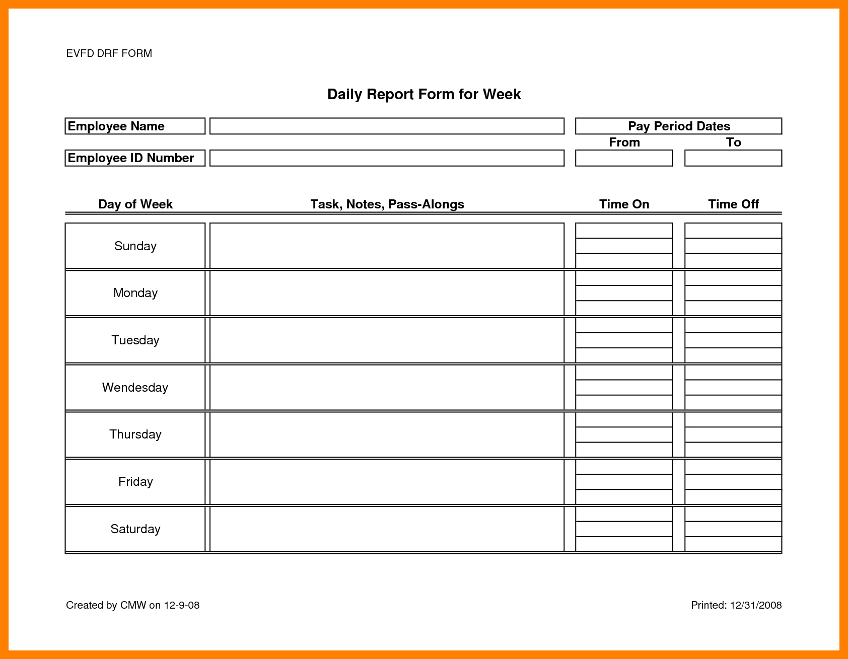 12+ Daily Report Format For Office Staff | Lobo Development Pertaining To Employee Daily Report Template