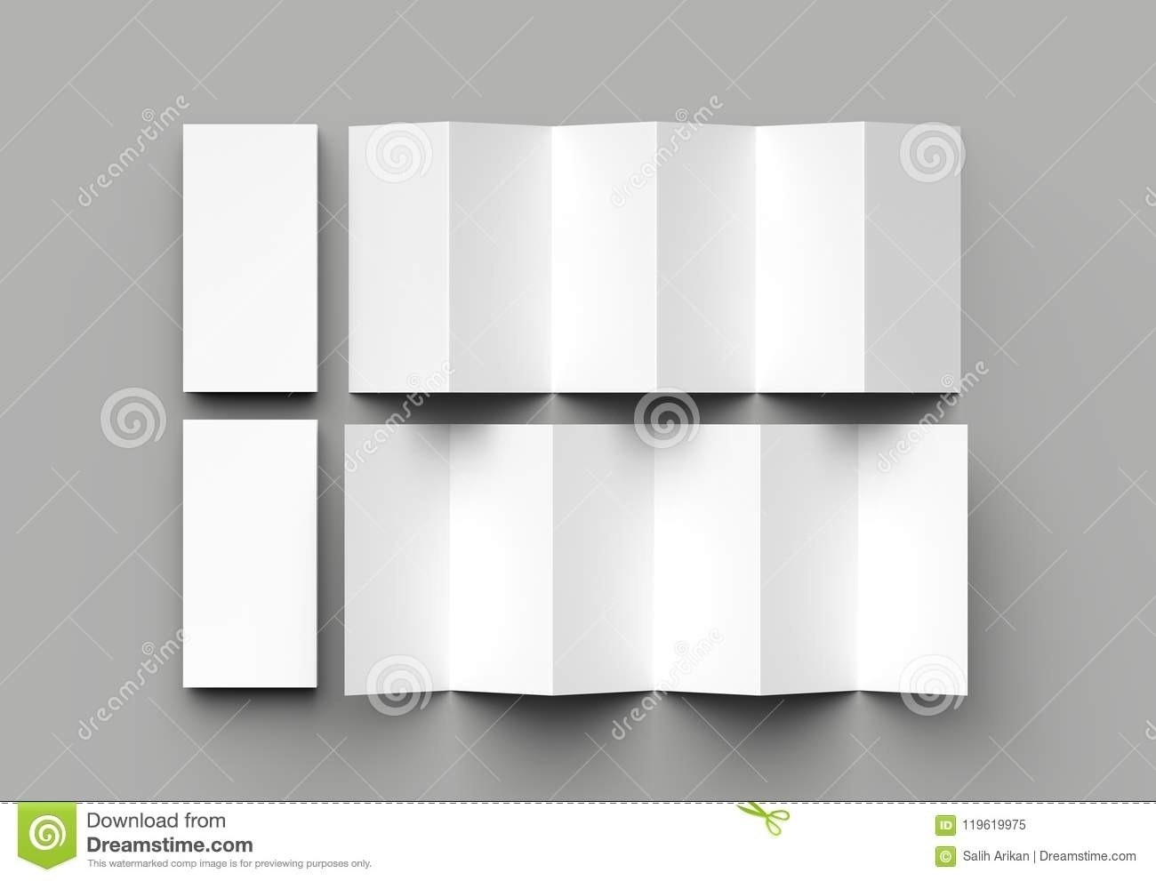12 Page Leaflet, 6 Panel Accordion Fold - Z Fold Vertical Inside 12 Page Brochure Template