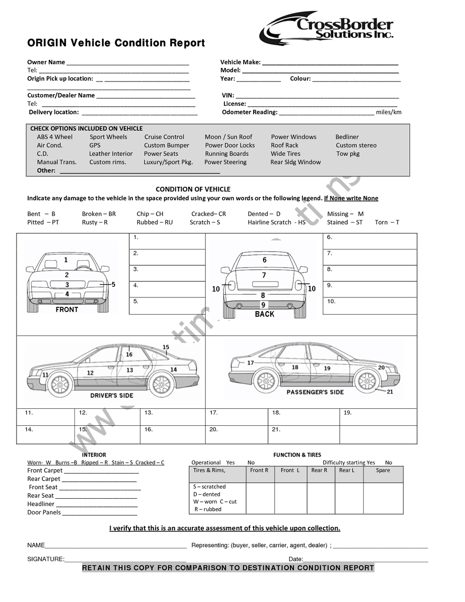 12+ Vehicle Condition Report Templates - Word Excel Samples In Truck Condition Report Template