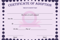 15+ Adoption Certificate Templates | Free Printable Word within Build A Bear Birth Certificate Template