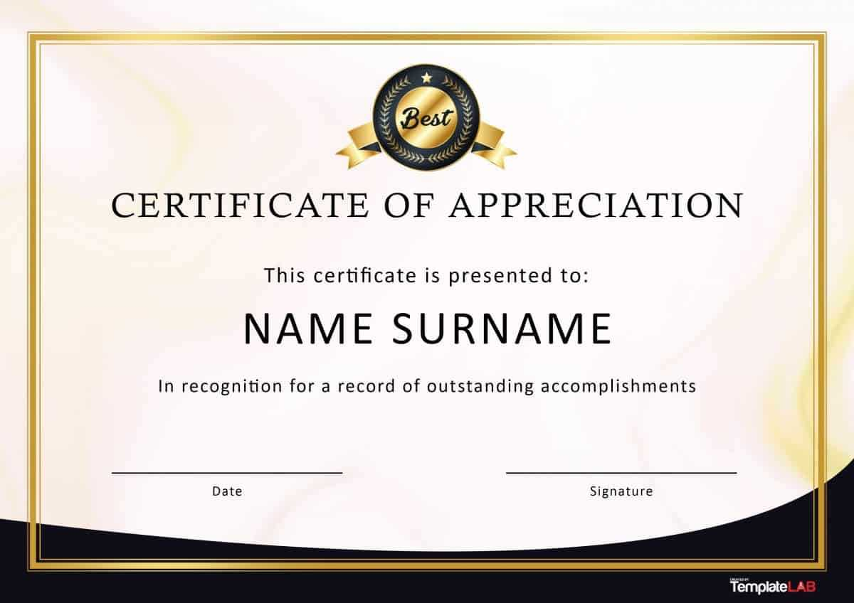 30 Free Certificate Of Appreciation Templates And Letters Within Certificates Of Appreciation Template