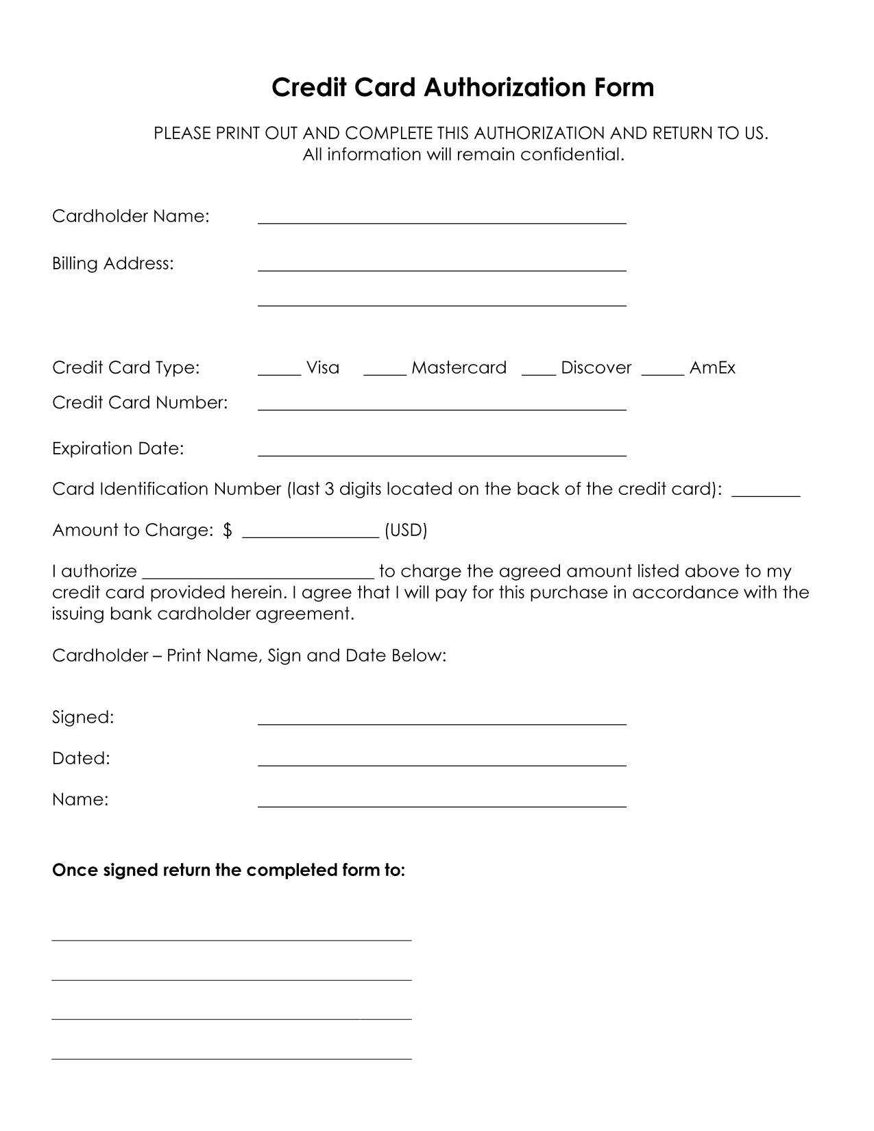 33+ Credit Card Authorization Form Template Download (Pdf, Word) In Credit Card Payment Form Template Pdf