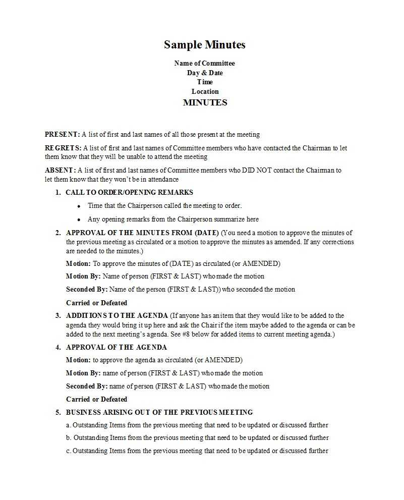 33 Professional Corporate Minutes Templates (Word/pdf) ᐅ With Regard To Corporate Minutes Template Word