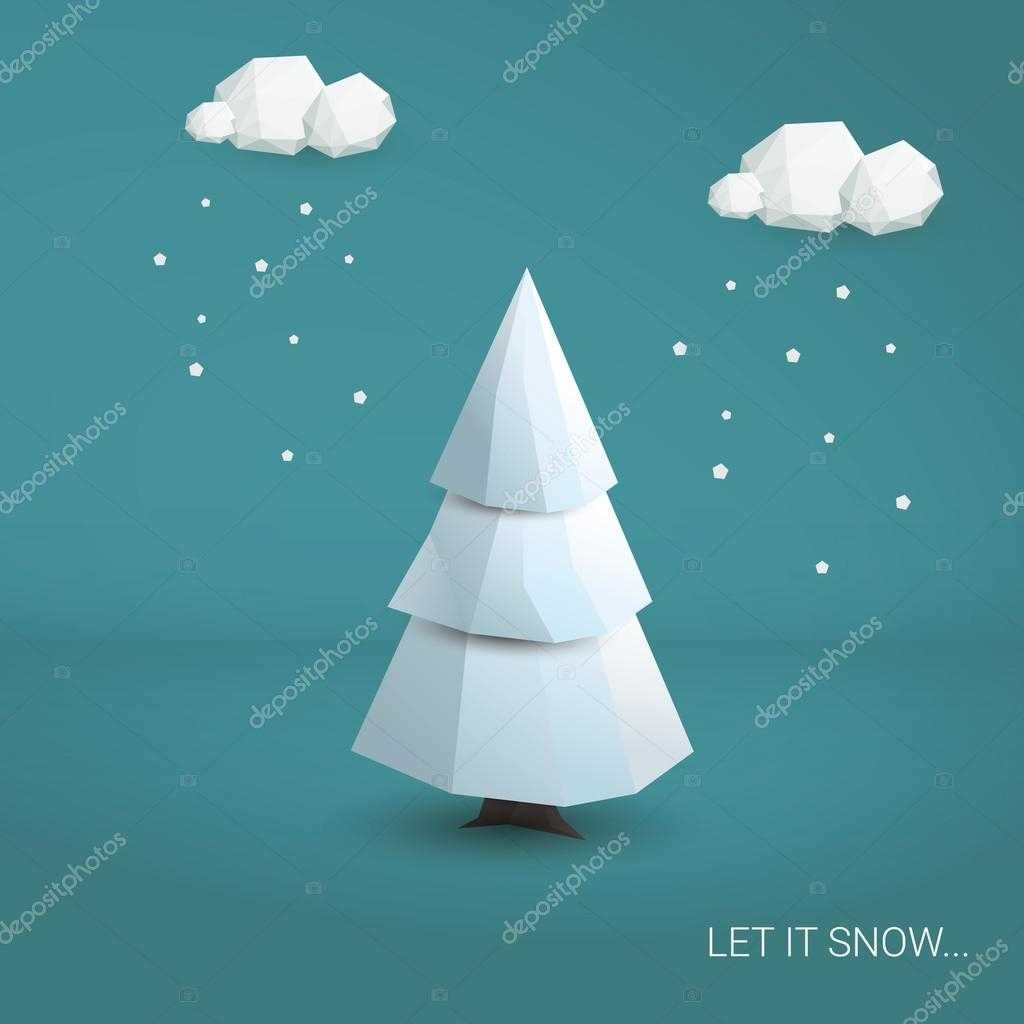3D Low Poly Christmas Tree Card Template. Traditional Throughout 3D Christmas Tree Card Template