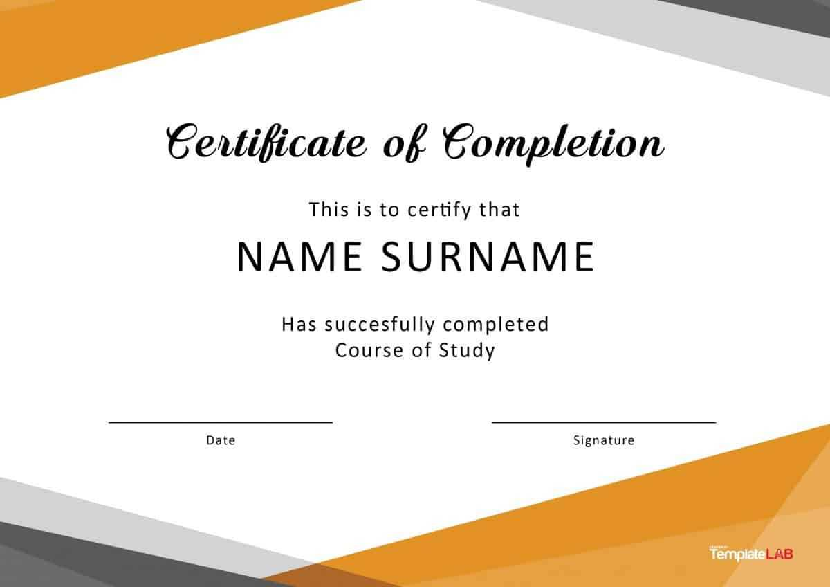 40 Fantastic Certificate Of Completion Templates [Word In Template For Training Certificate