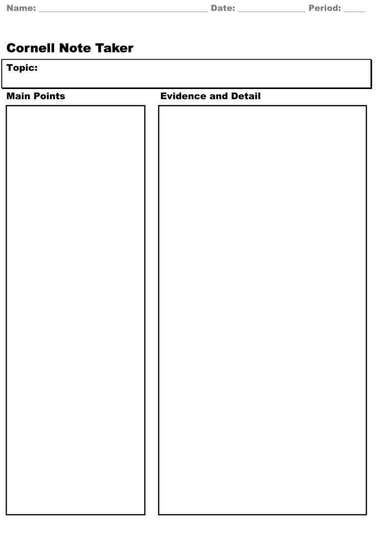 40 Free Cornell Note Templates (With Cornell Note Taking Within Cornell Note Template Word