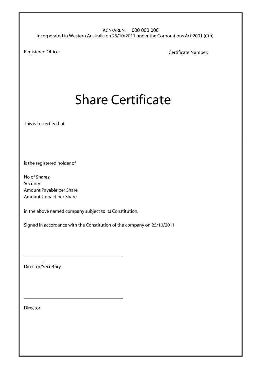 40+ Free Stock Certificate Templates (Word, Pdf) ᐅ Template Lab Within Share Certificate Template Australia