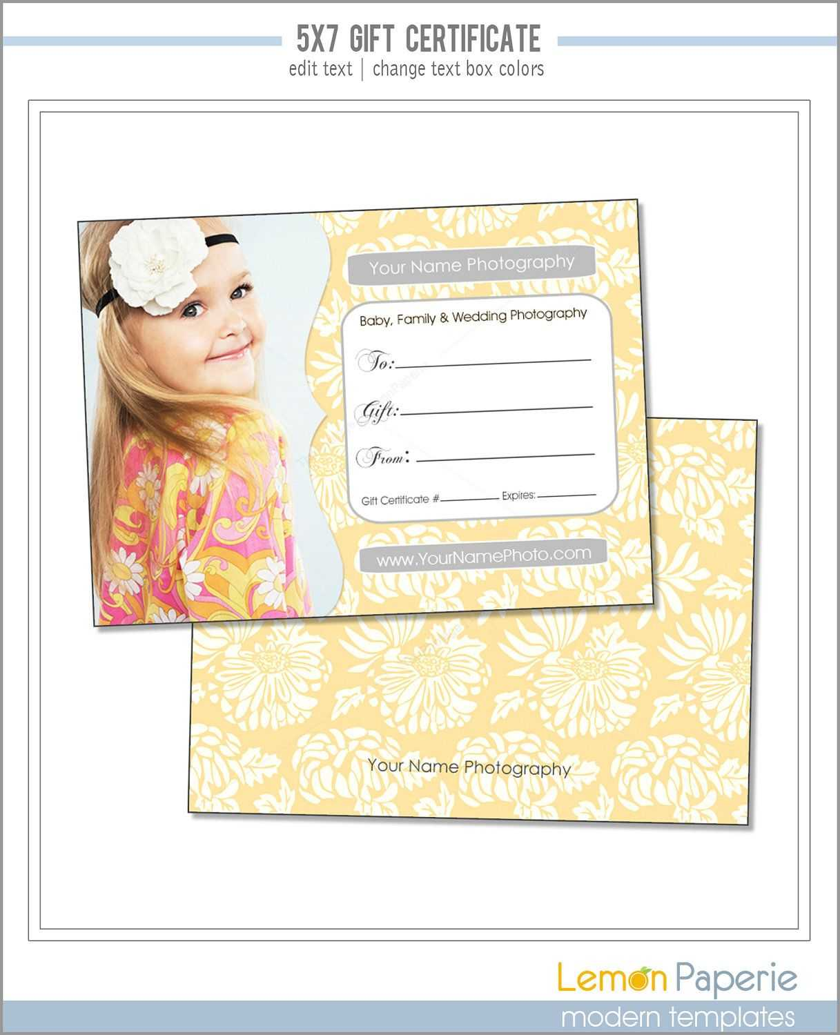 5X7 And 4X6 Gift Certificate Template, Fresh Blossoms, Psd For Gift Certificate Template Photoshop