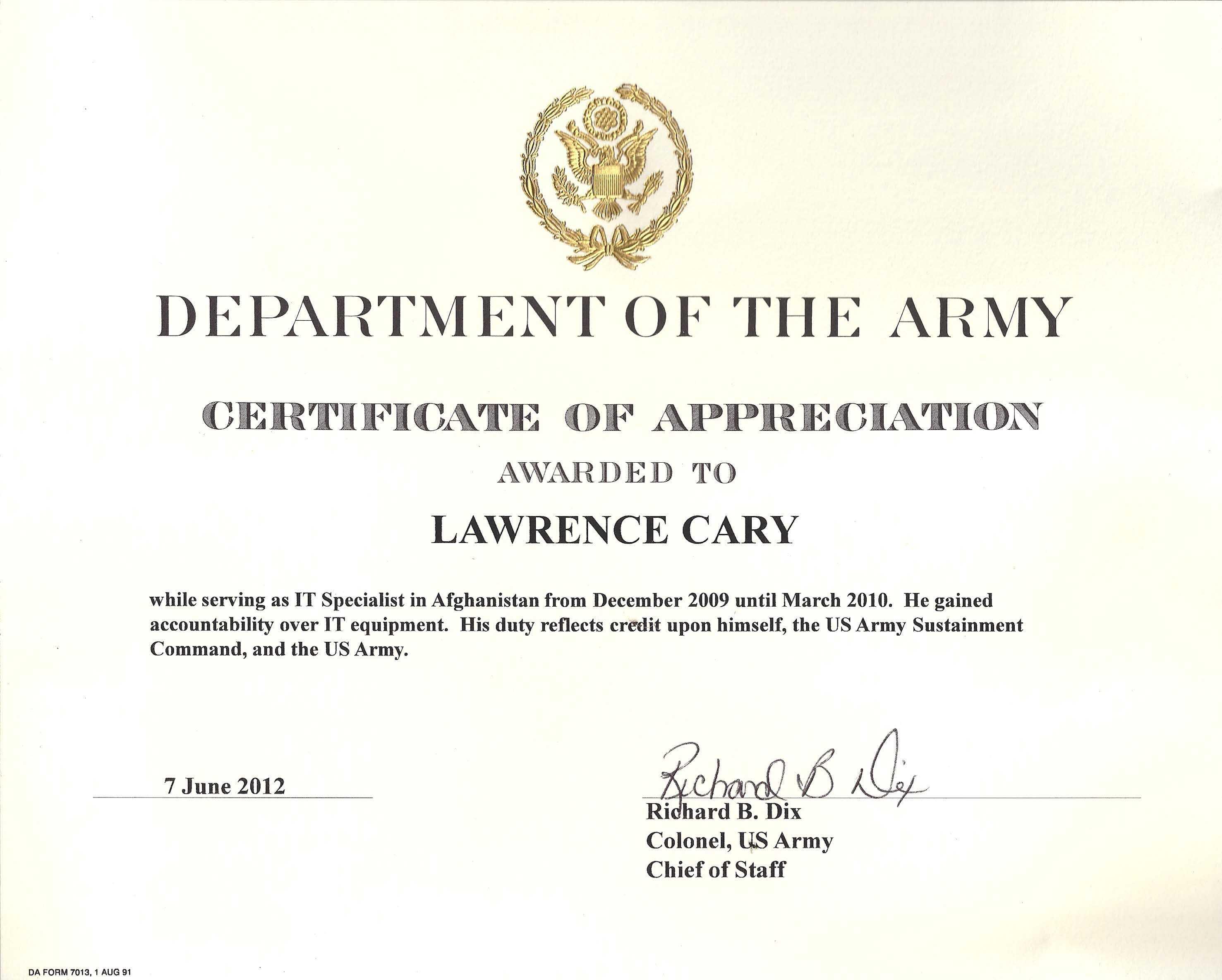 6+ Army Appreciation Certificate Templates - Pdf, Docx In Certificate Of Achievement Army Template