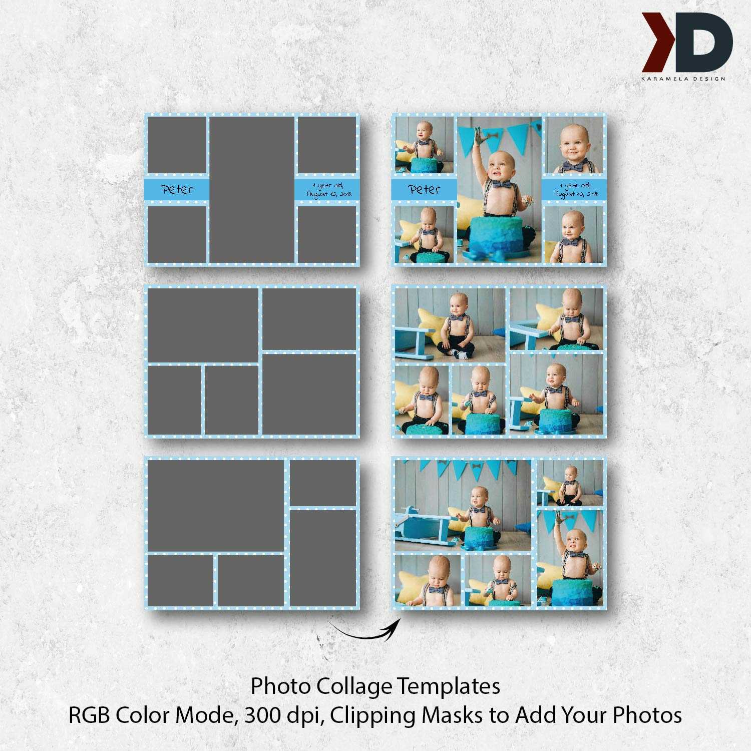 7X5 Photo Collage Card Templates, First Birthday, Birthday Collages, Cake  Smash, Digital Collage Board, Photo Template, Photography Template In Birthday Card Collage Template