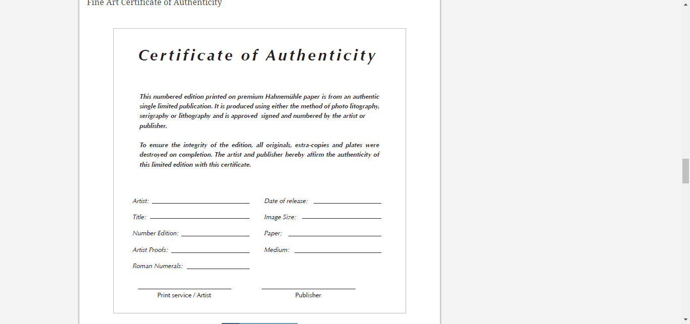 8 Certificate Of Authenticity Templates – Free Samples Pertaining To Photography Certificate Of Authenticity Template