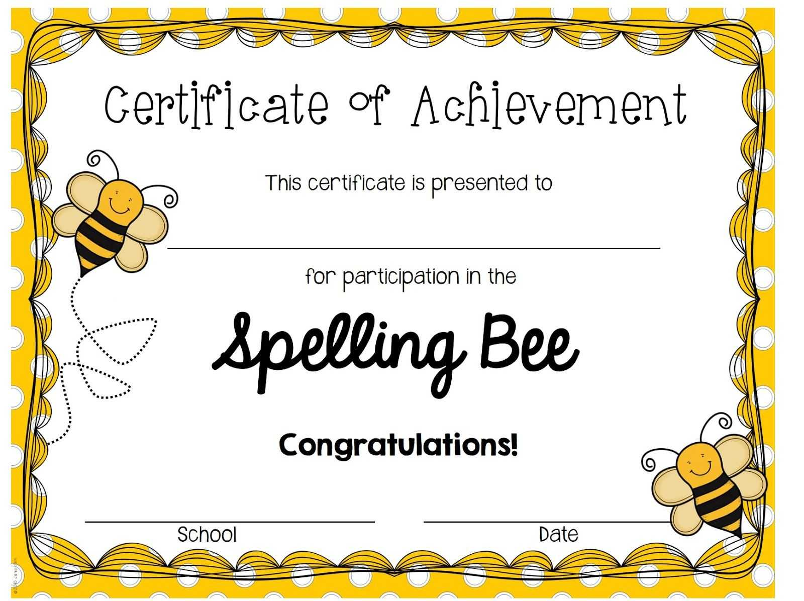 A Blog About Education, Children, Teaching, And My Journey In Spelling Bee Award Certificate Template