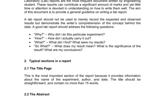 A Guide To Writing An Engineering Laboratory (Lab) Report for Engineering Lab Report Template