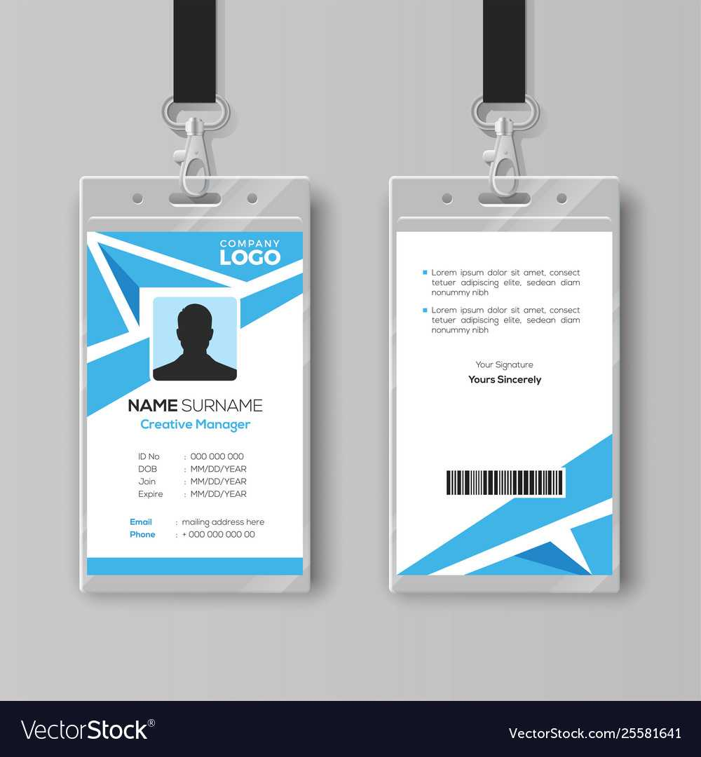 Abstract Blue Id Card Design Template In Id Card Template Ai