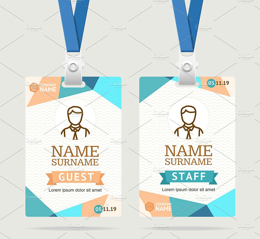 Abstract Id Card Template | Id Card | Id Card Template, Card Inside Id Badge Template Word