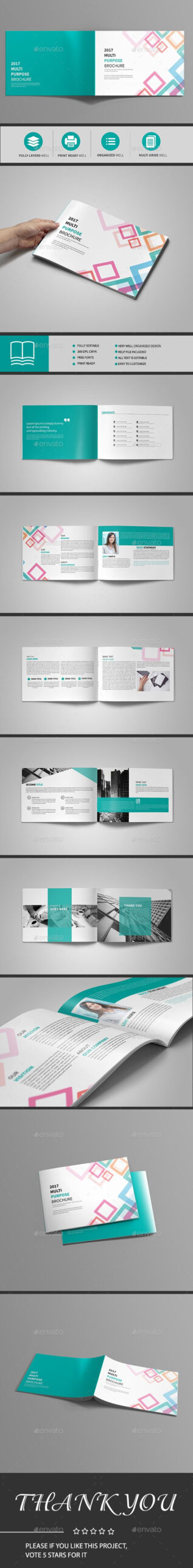 Abstract Landscape Brochure 12 Page — Indesign Template regarding 12 Page Brochure Template