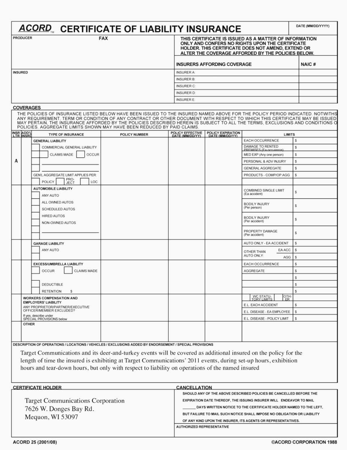 Acord 25 Fillable 2016 Elegant Accord Form – Free Fillable Pertaining To Acord Insurance Certificate Template