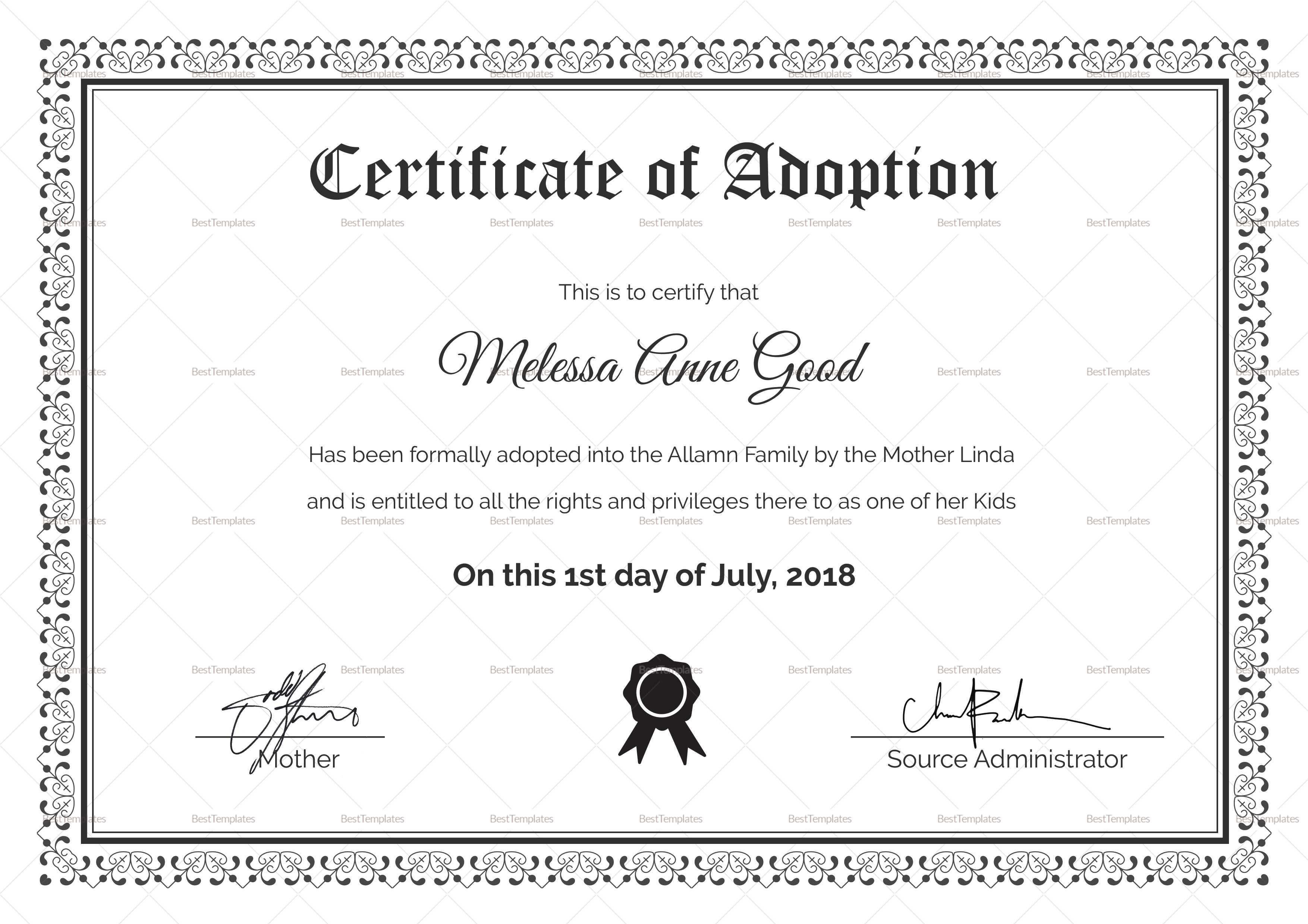 Adoption Certificate Design Template In Adoption Certificate Template