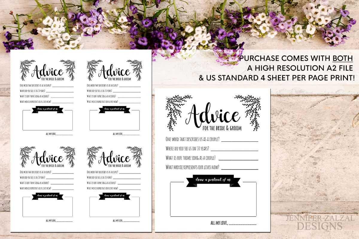 Advice Card Template. Advice For The Newlyweds. Marriage For Marriage Advice Cards Templates