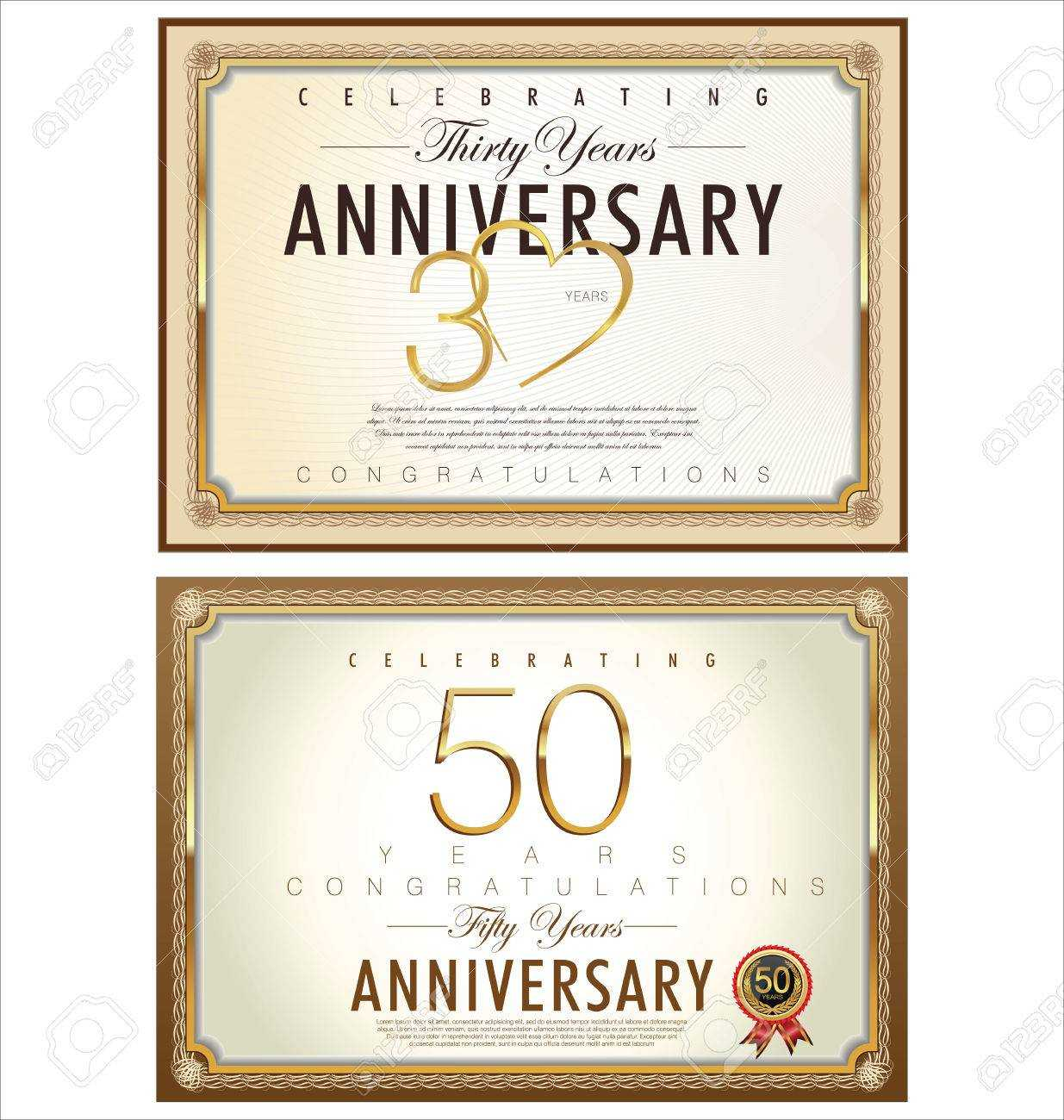 Anniversary Certificate Template With Anniversary Certificate Template Free