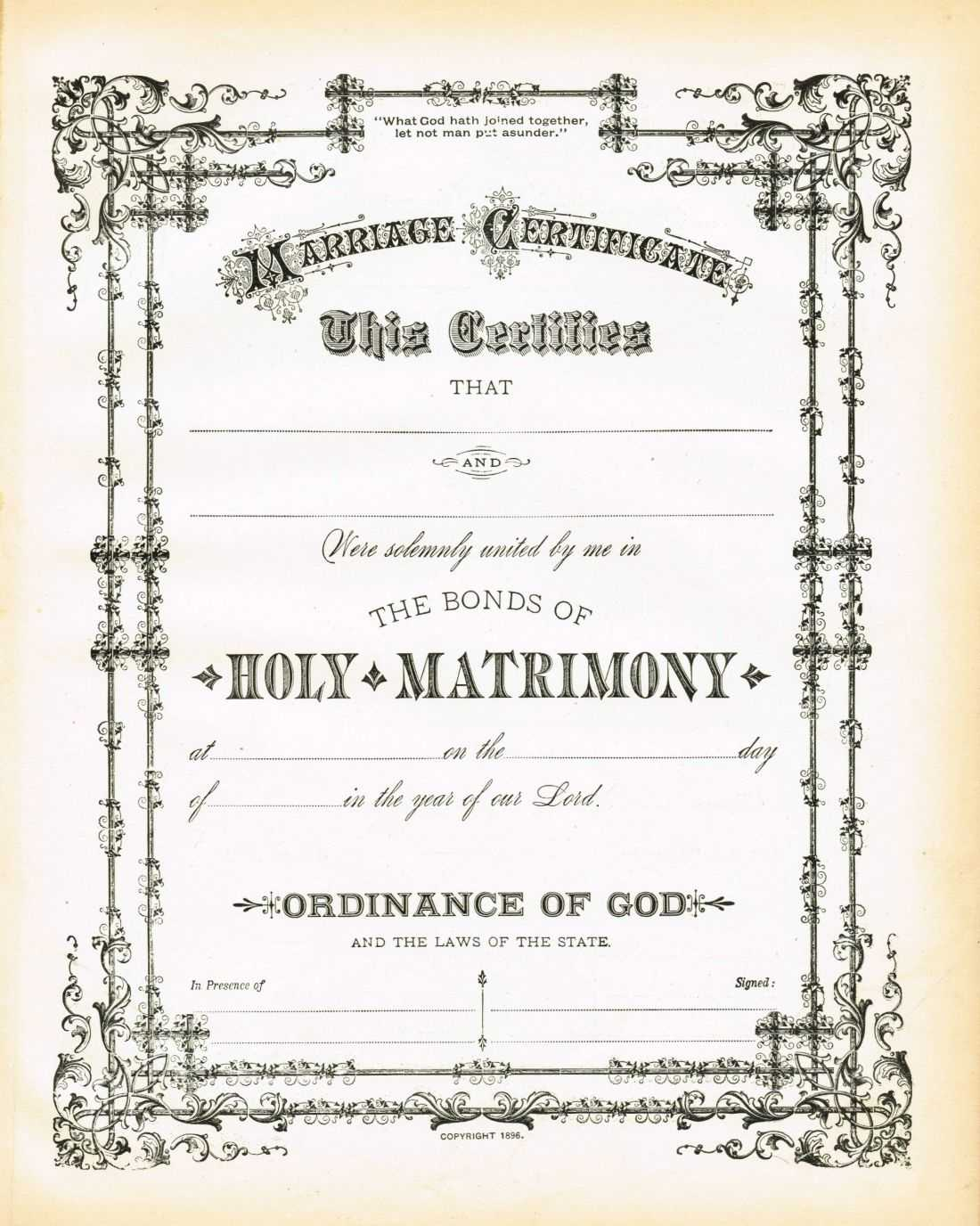Antique Certificate Of Marriage Printable | Wedding For Blank Marriage Certificate Template
