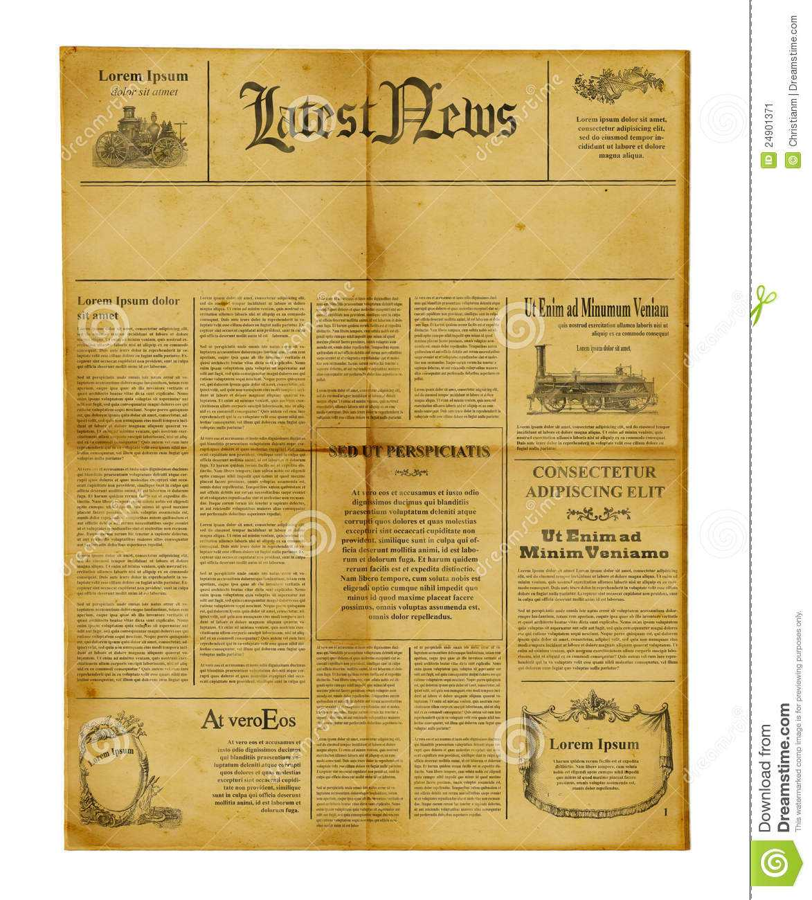 Antique Newspaper Template Stock Image. Image Of Information In Old Blank Newspaper Template