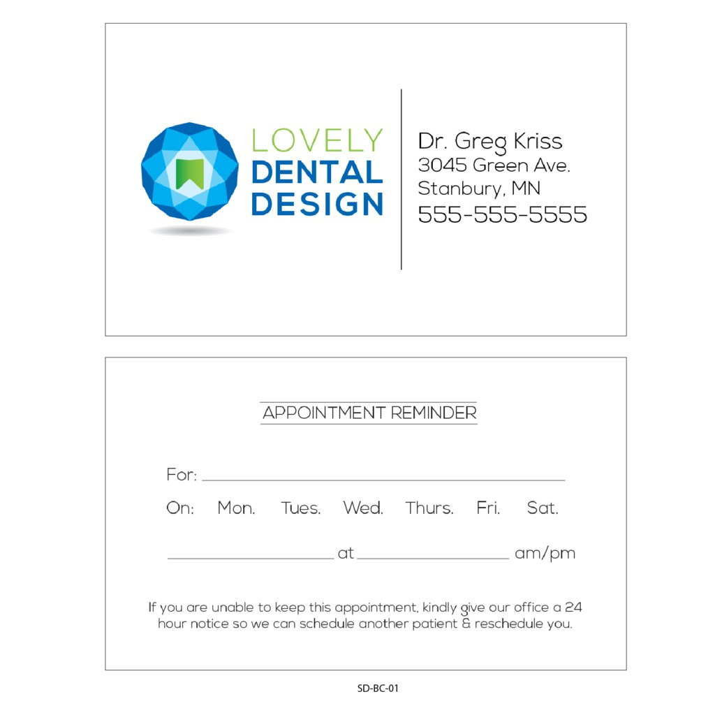Appointment Business Card Template | Creative Atoms Regarding Dentist Appointment Card Template