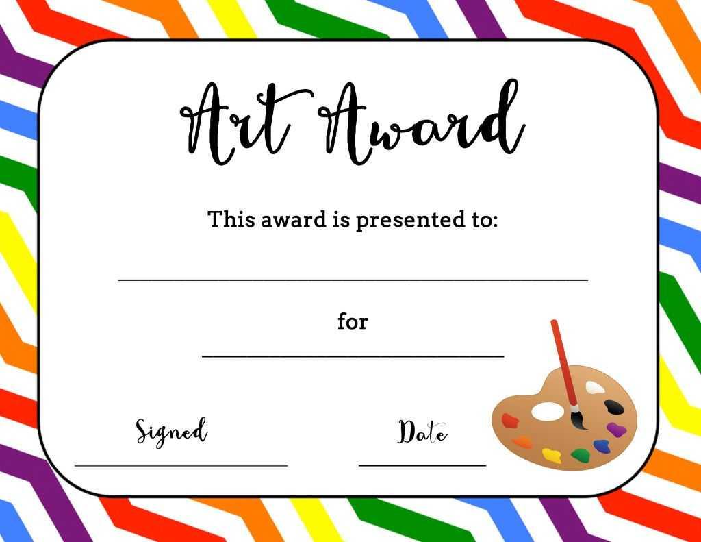 Art Award Certificate (Free Printable)   Art   Art Classroom With Art Certificate Template Free