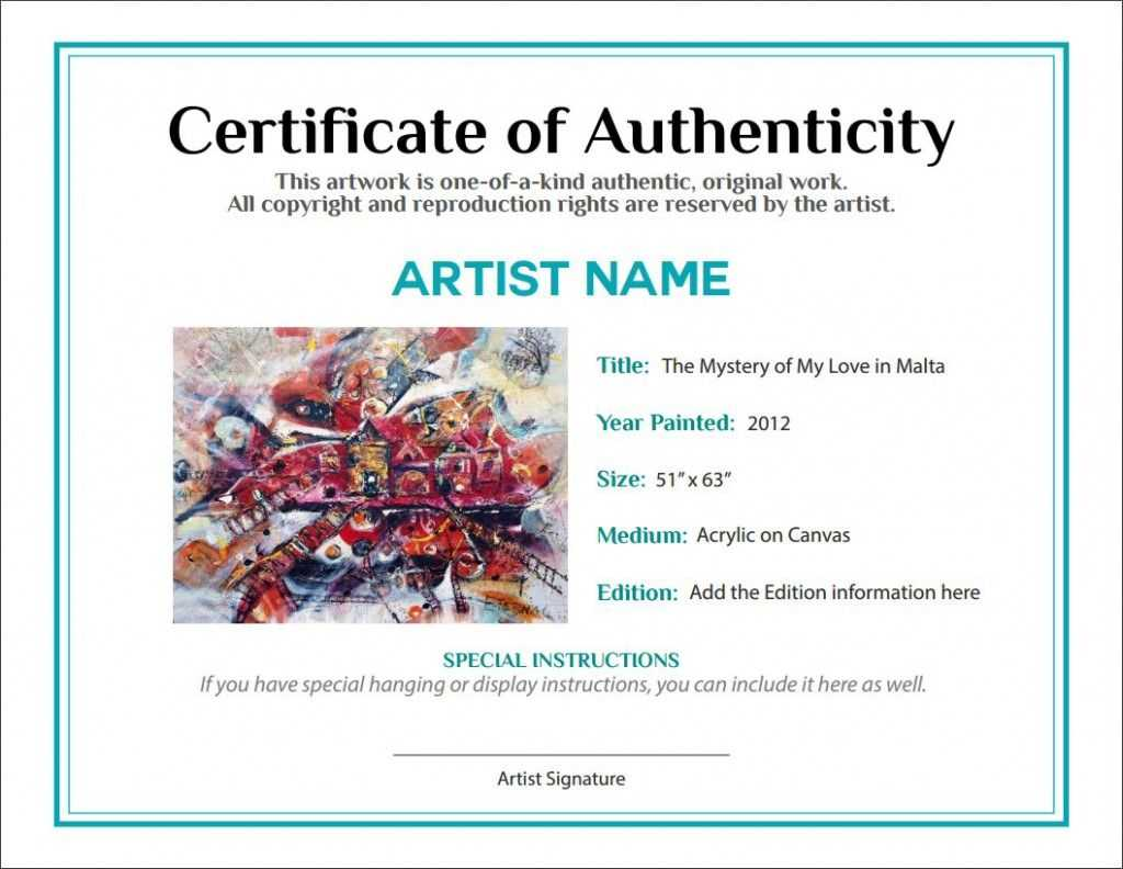 Artwork Bill Of Sale And Letter Of Authenticity | L'art In Regarding Photography Certificate Of Authenticity Template
