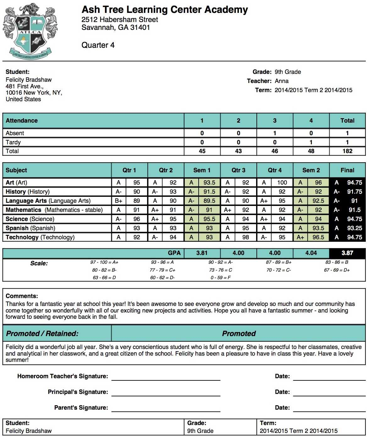 Ash Tree Learning Center Academy Report Card Template With Middle School Report Card Template