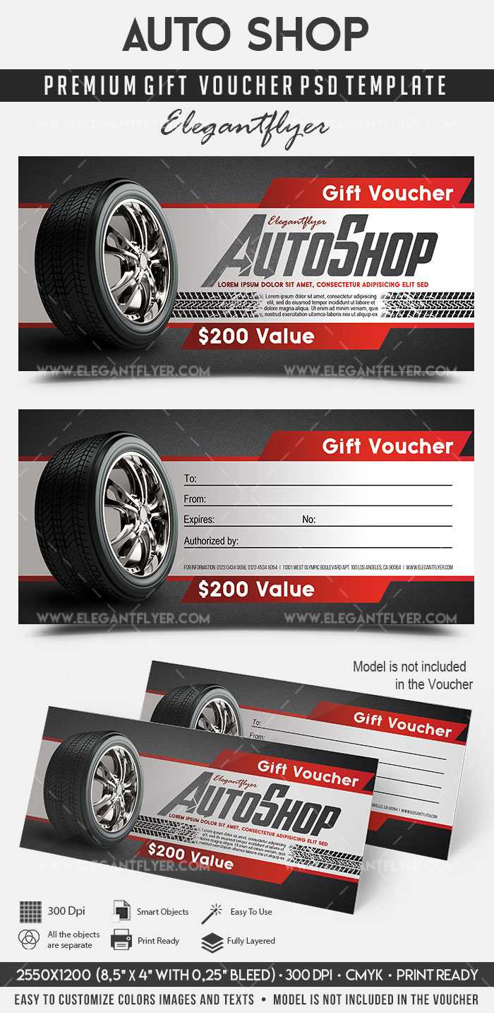 Auto Shop – Premium Gift Certificate Psd Template In Automotive Gift Certificate Template