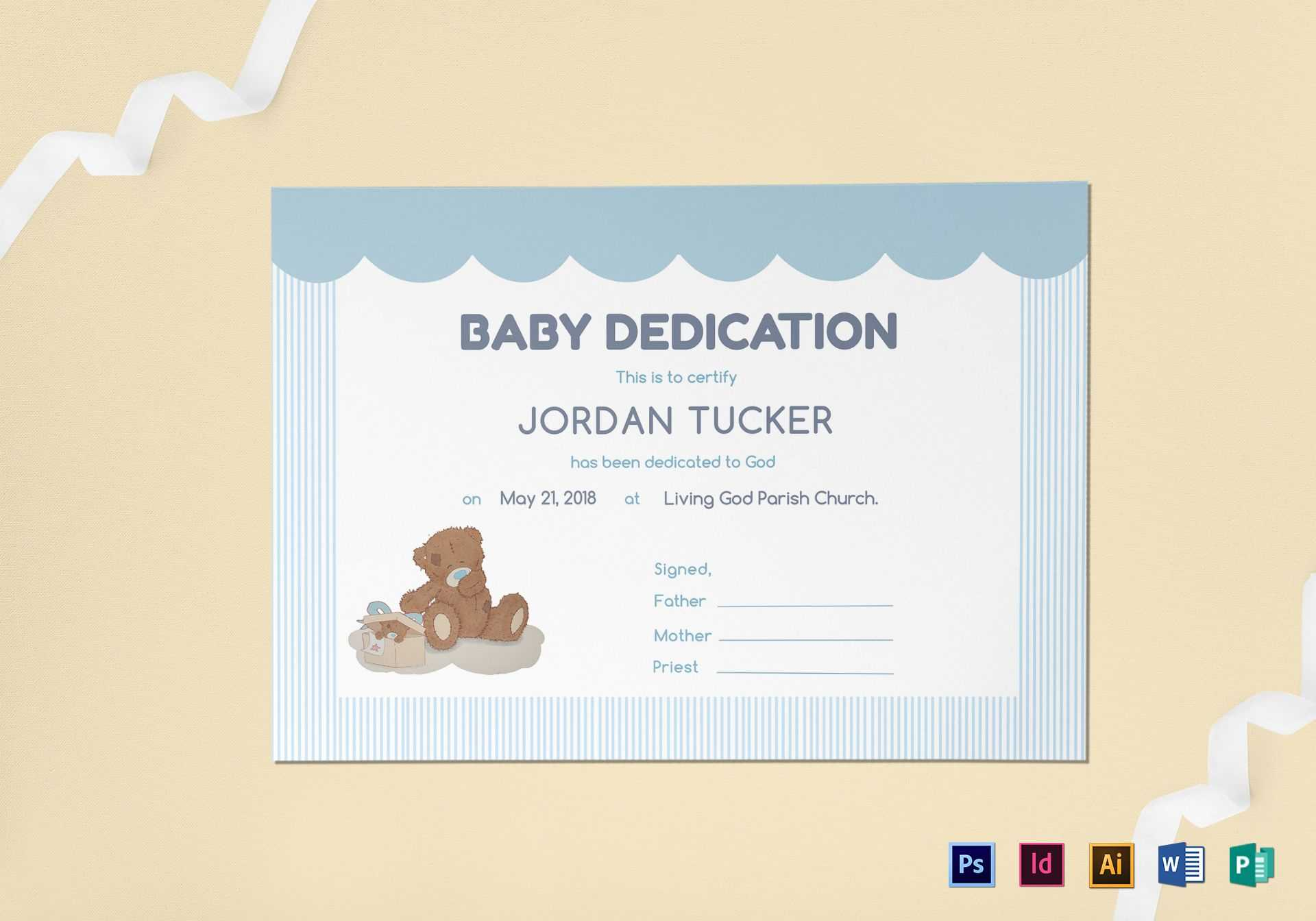 Baby Dedication Certificate Template Within Baby Dedication Certificate Template