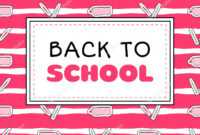 Back School Banner Template Vector Pink Girls Concept with College Banner Template