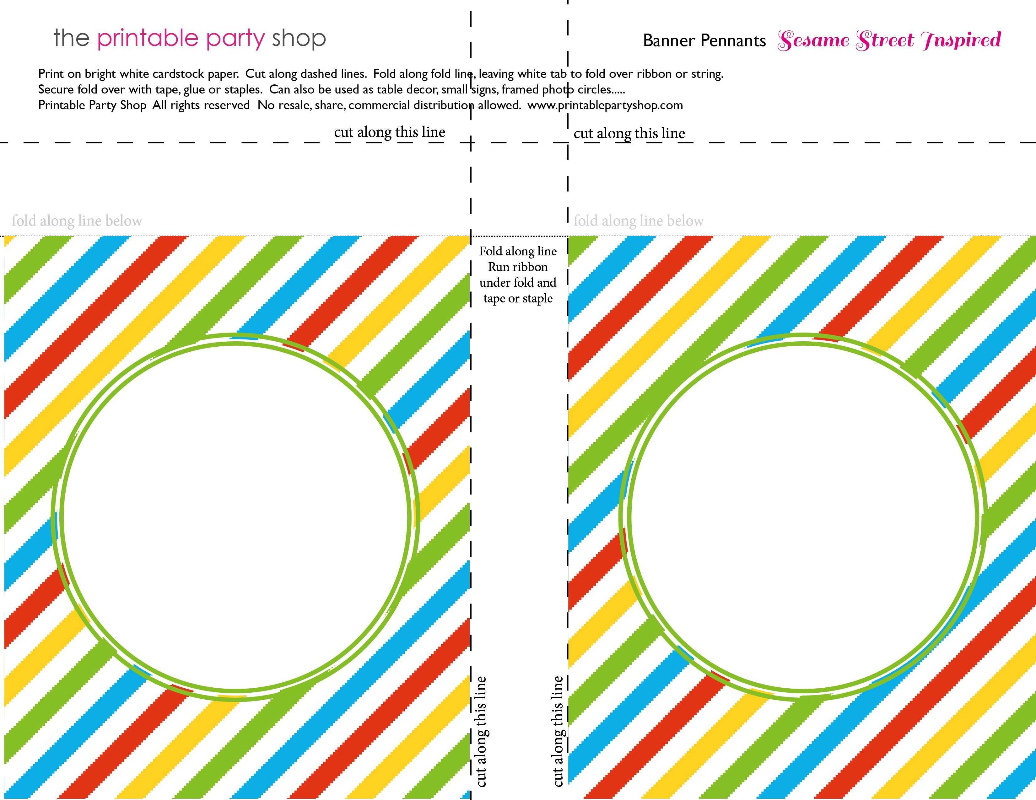 Banner Squares Stripes Sesame Street Printablepartyshop In Sesame Street Banner Template