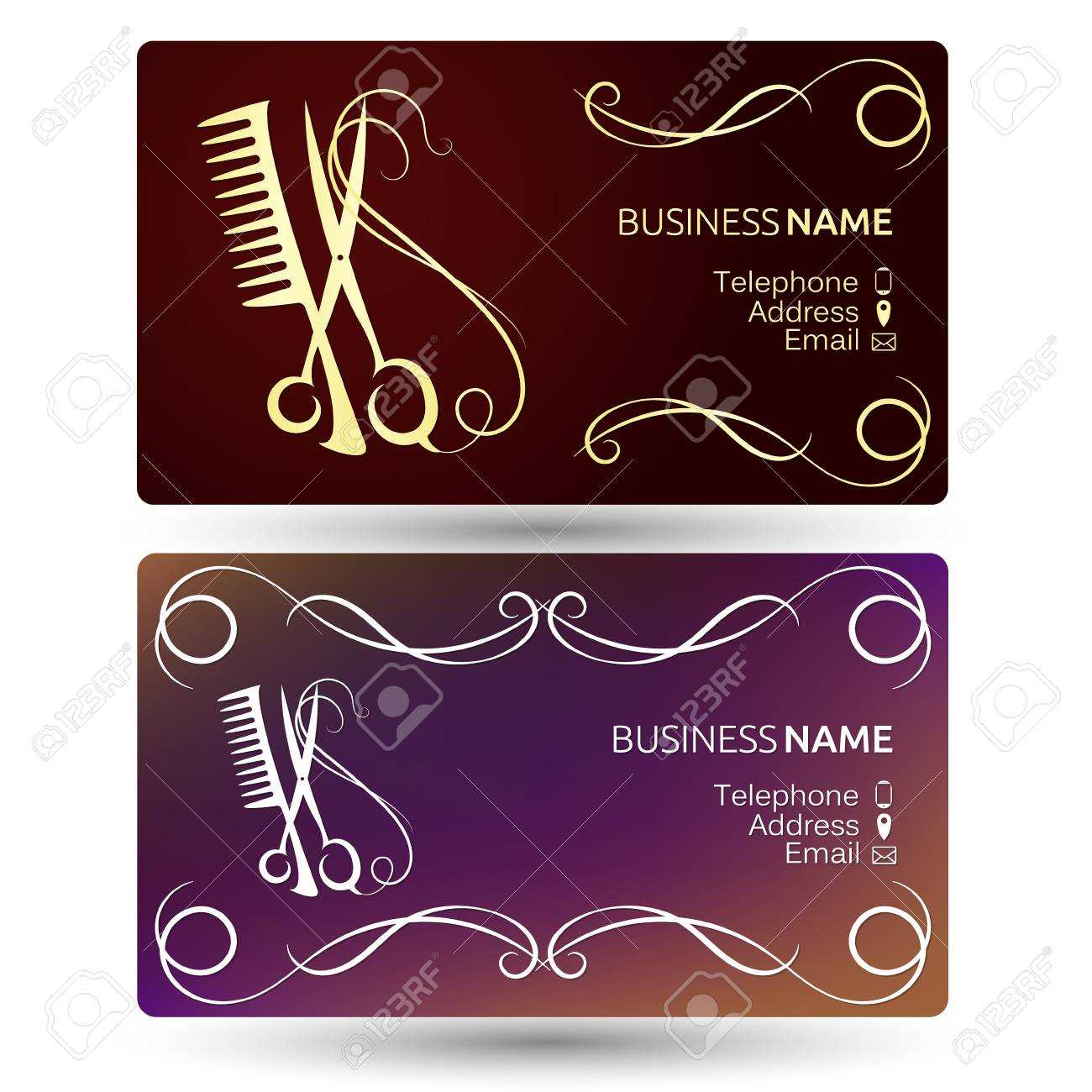 Beauty Salon And Hairdresser Business Card Template Vector Within Hairdresser Business Card Templates Free
