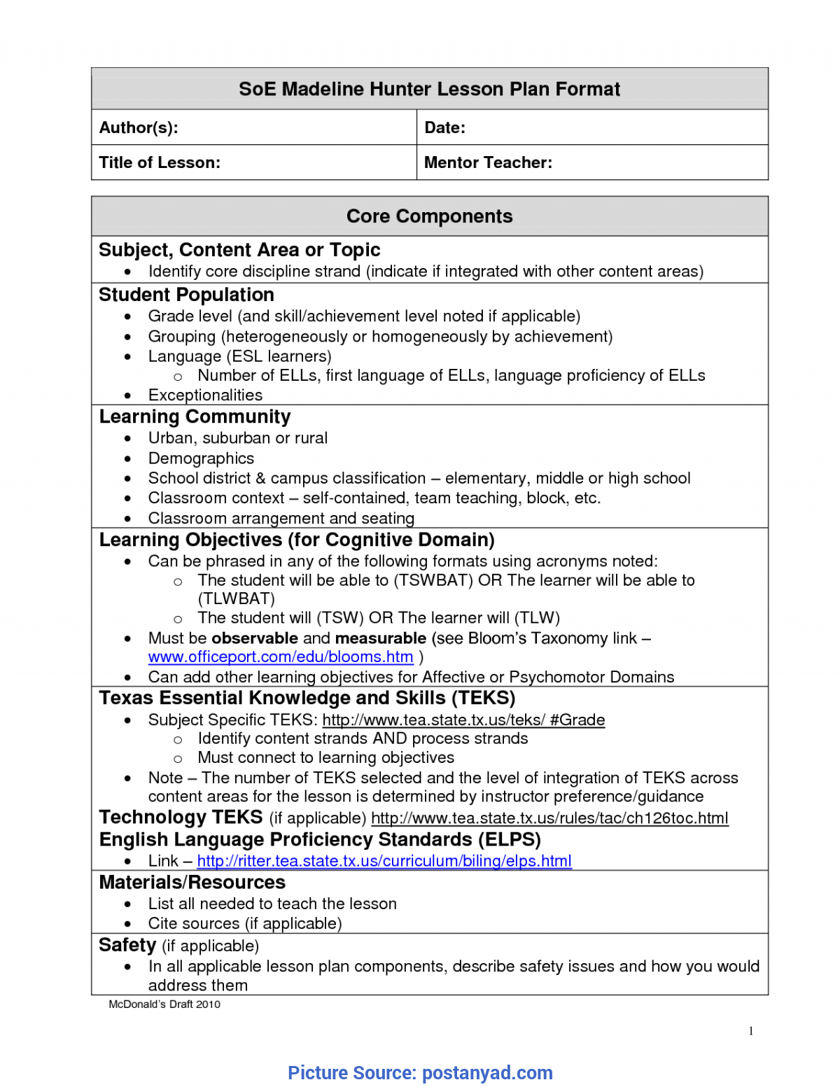 Best Madeline Hunter Lesson Plan Components Madeline Hunter Throughout Madeline Hunter Lesson Plan Template Word