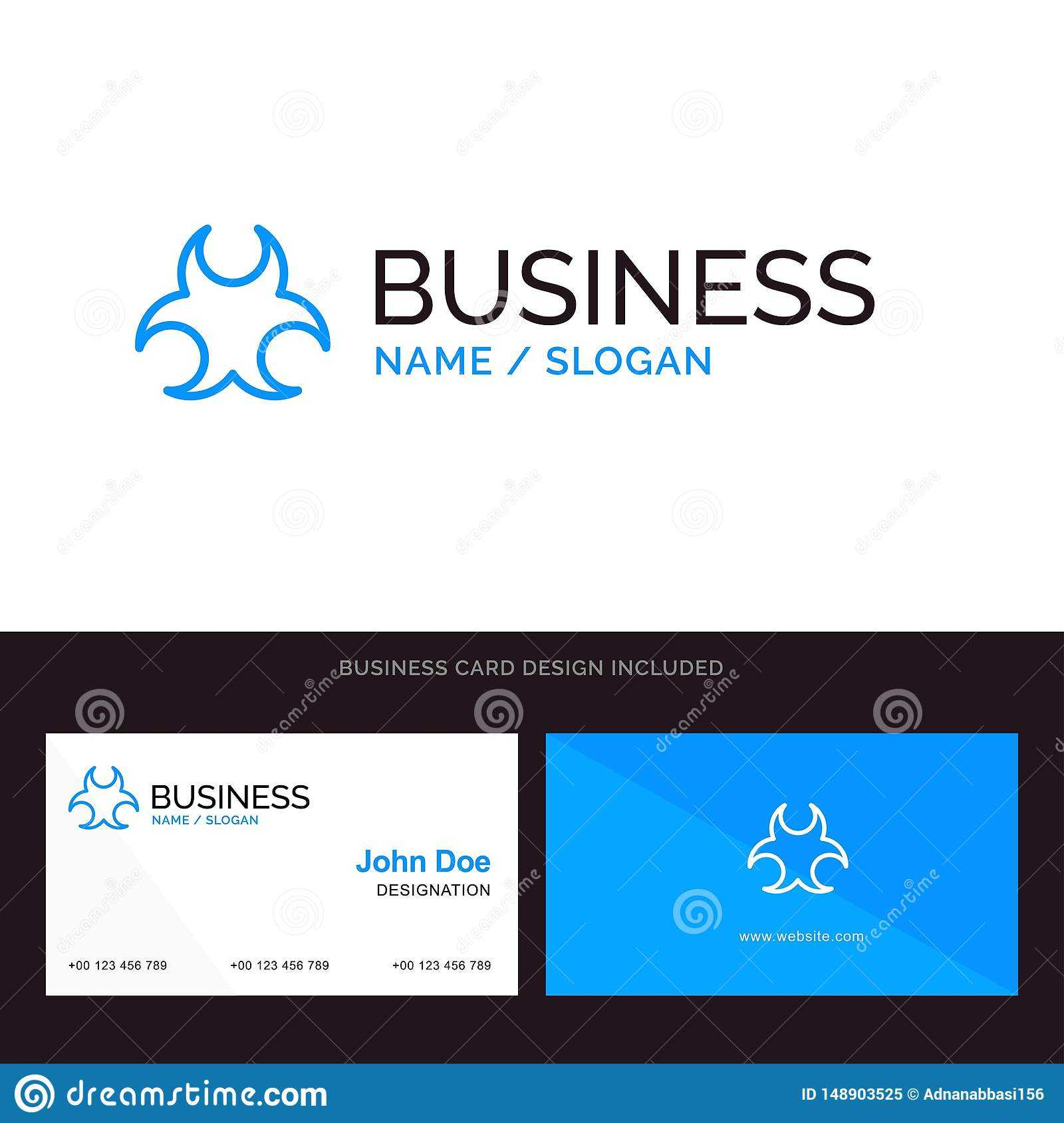 Bio, Hazard, Sign, Science Blue Business Logo And Business In Bio Card Template