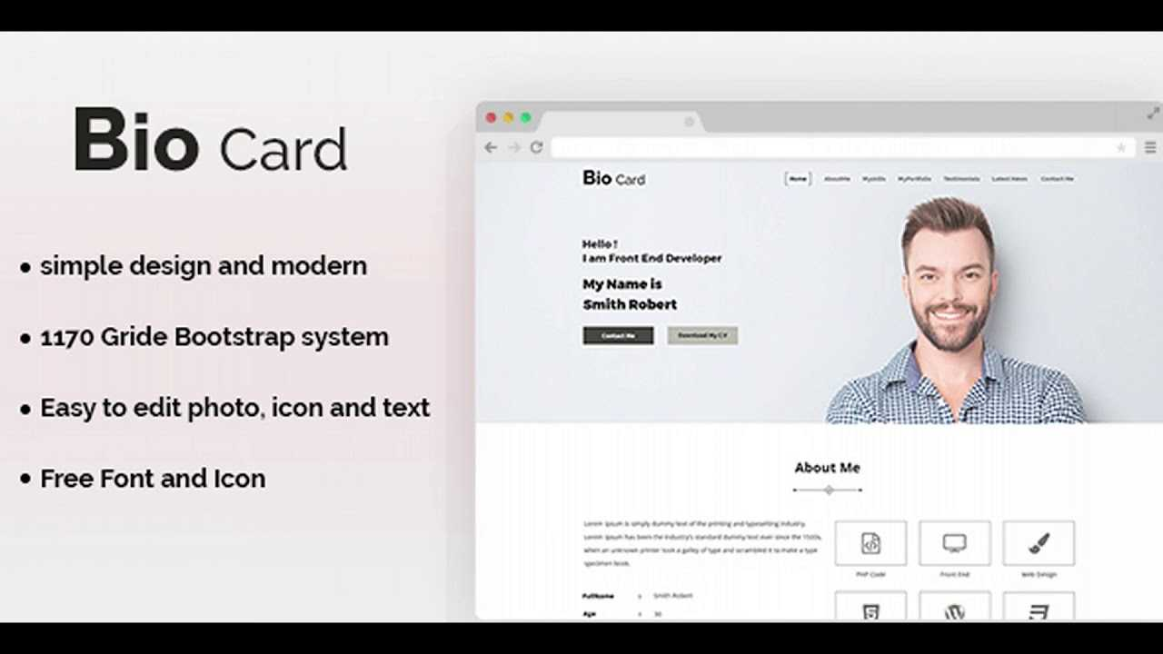 Biocard - Personal Portfolio Psd Template | Themeforest Website Templates  And Themes For Bio Card Template