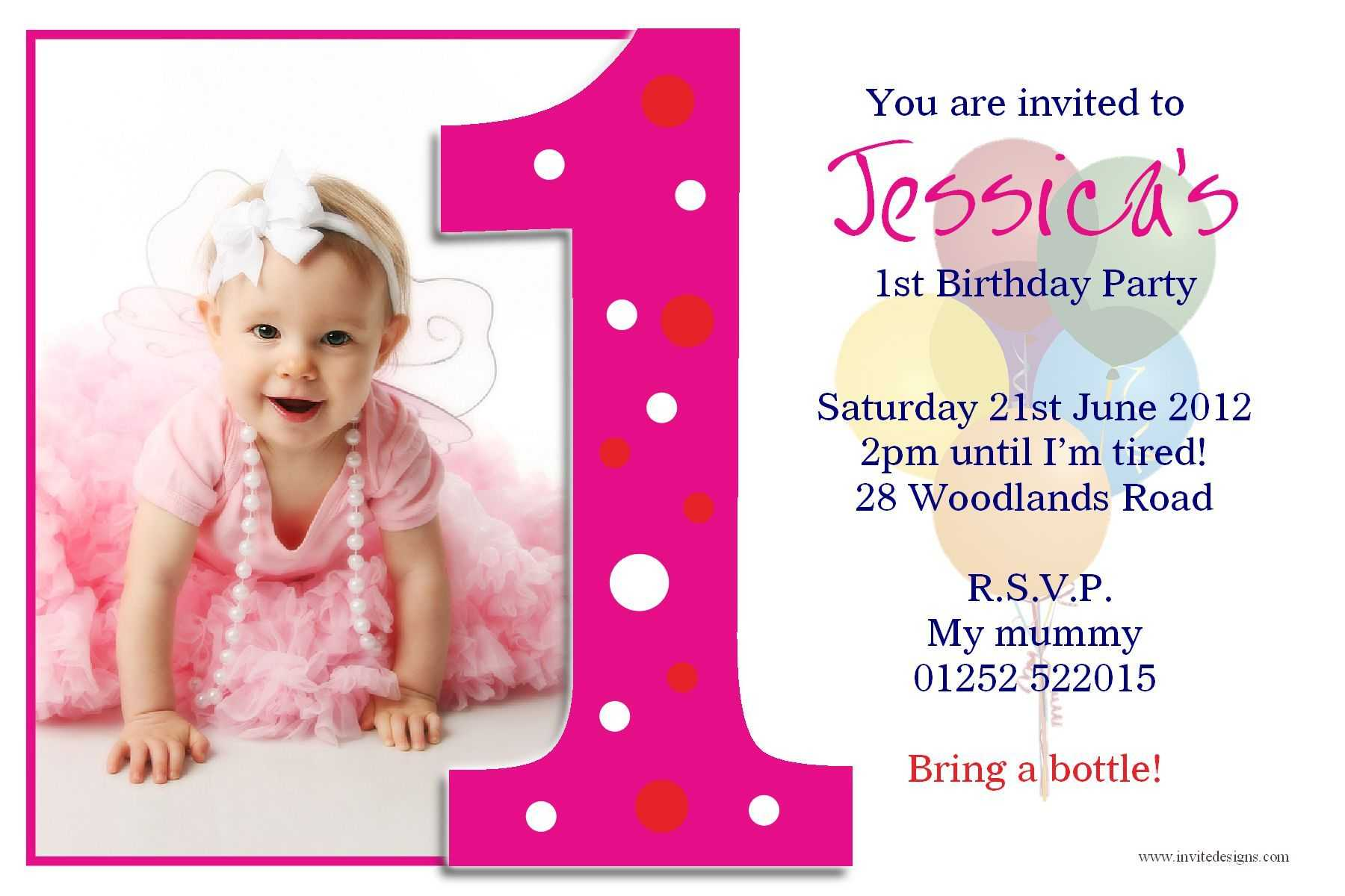 Birthday Party : First Birthday Invitations - Card With First Birthday Invitation Card Template