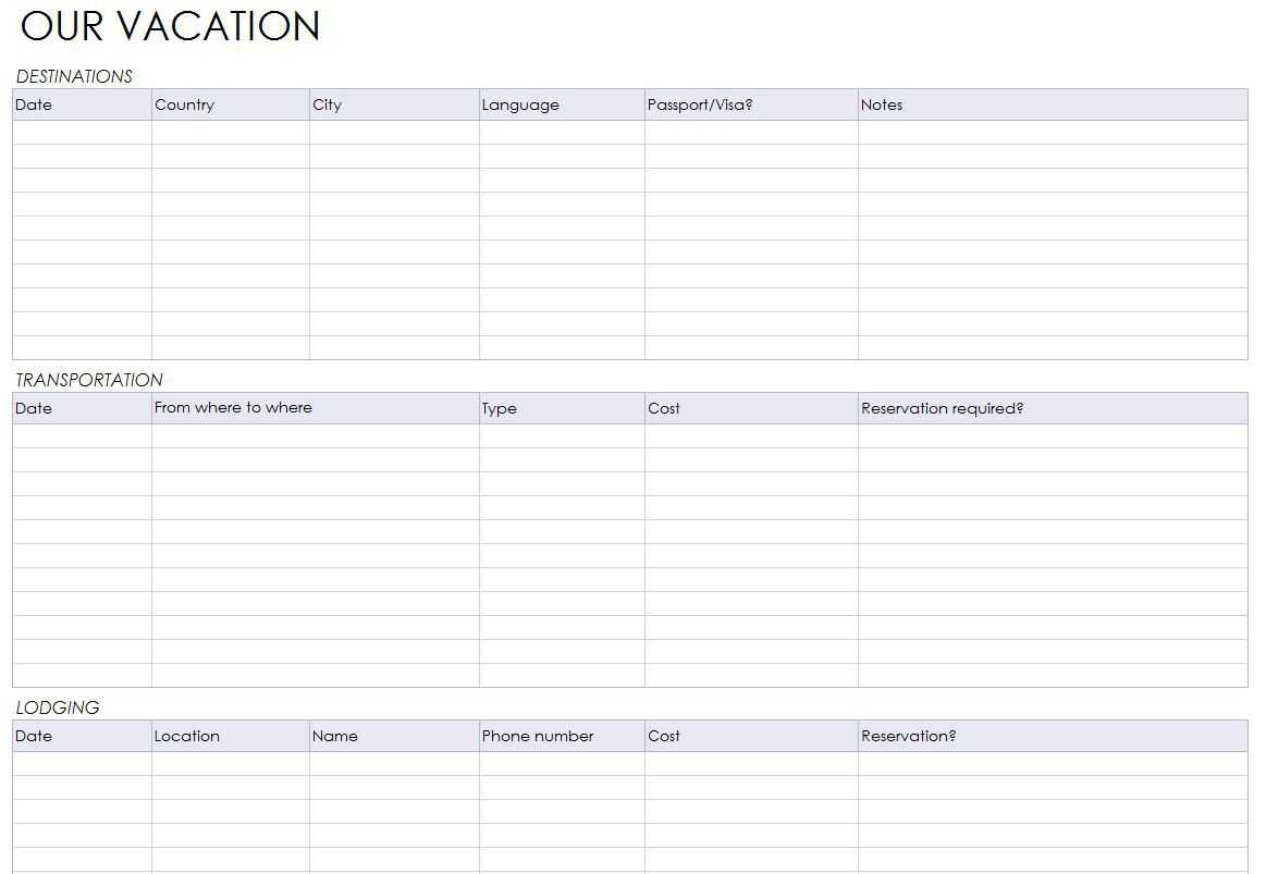 Blank Itinerary Templates - Word Excel Samples With Regard To Blank Trip Itinerary Template