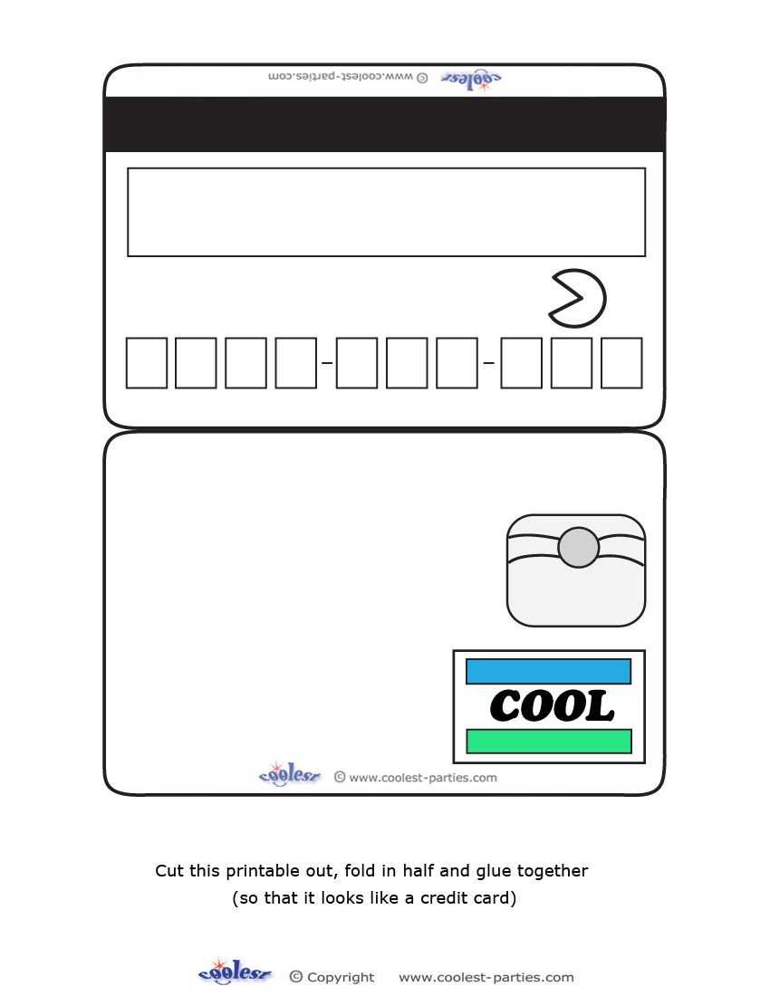Blank Printable Cool Credit Card Invitations For A Mall Inside Credit Card Template For Kids