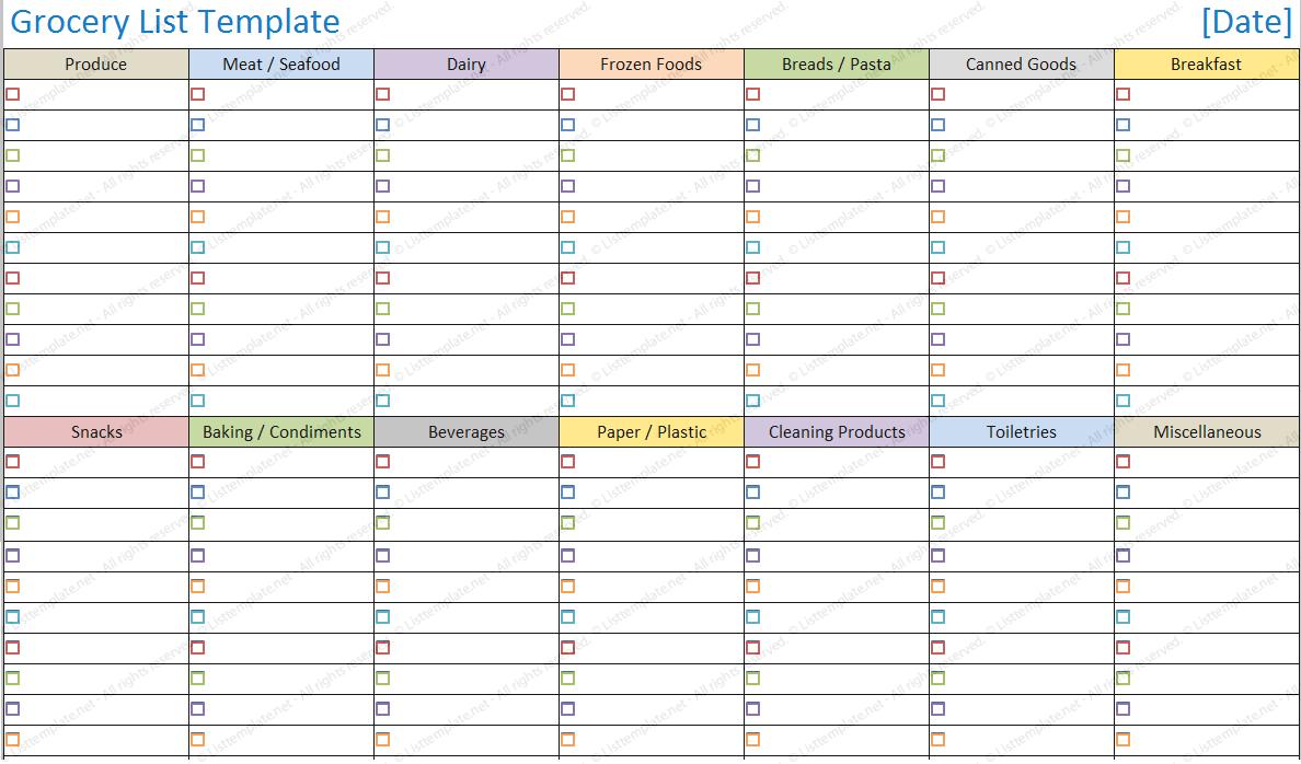 Blank Shopping List Printable Template   Blank Grocery List With Blank Grocery Shopping List Template