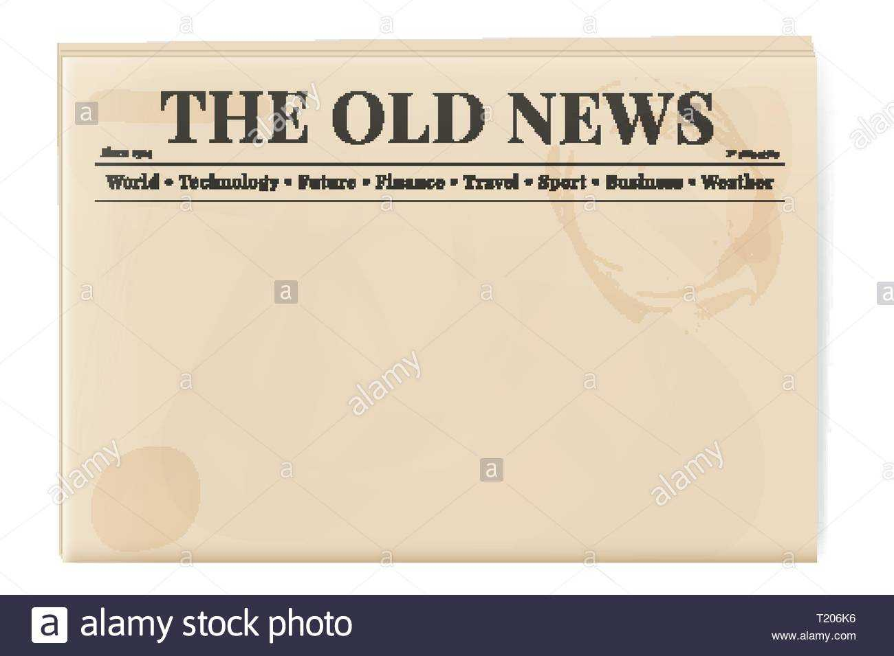 Blank Template Of A Retro Newspaper. Folded Cover Page Of A For Old Blank Newspaper Template