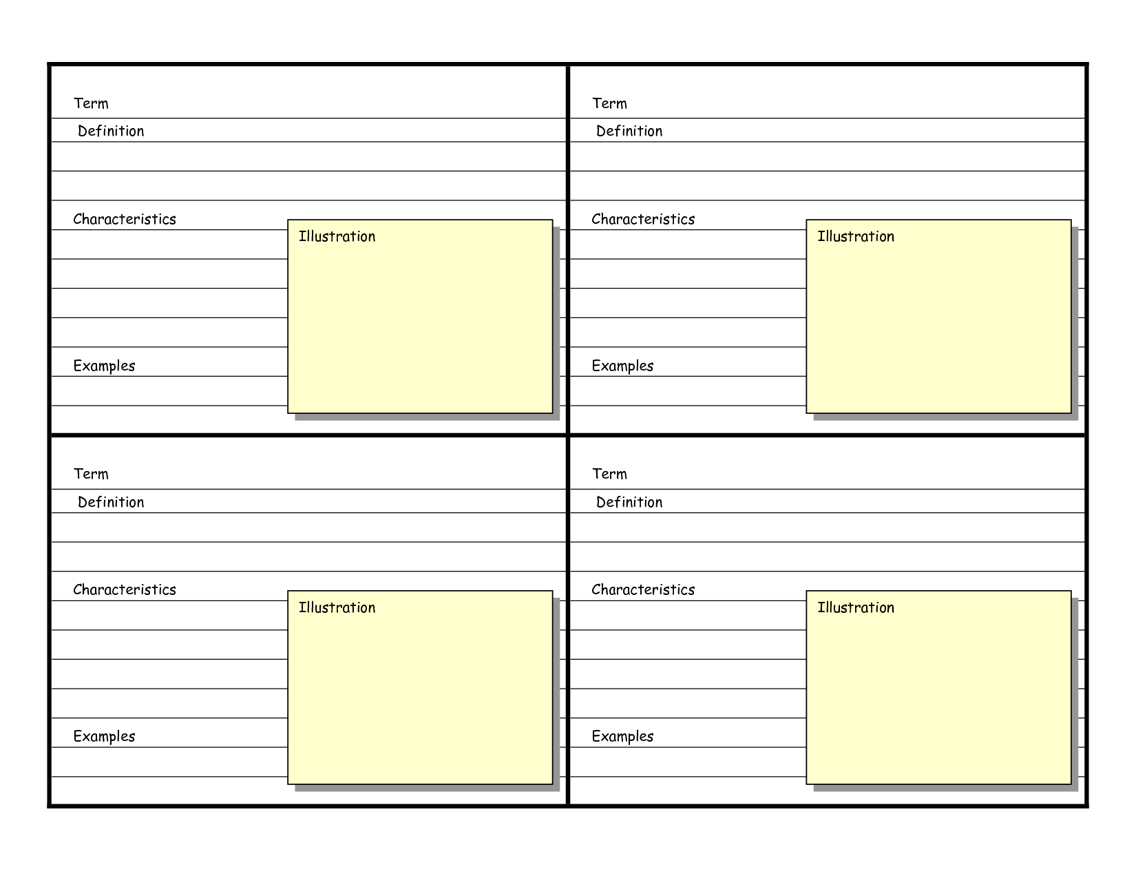 Blank Vocabulary Card Template | Vocabulary Flash Cards Intended For Flashcard Template Word