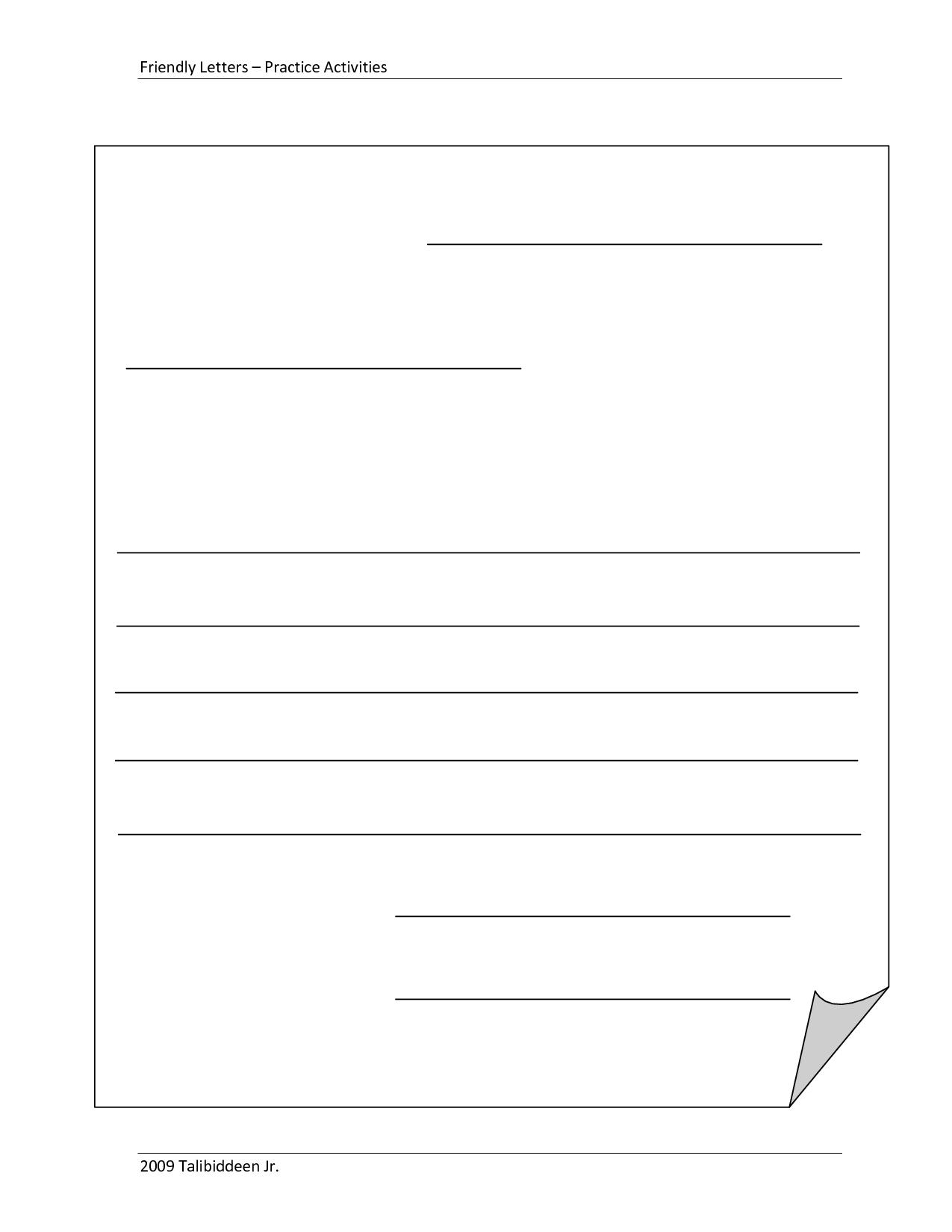 Blank+Letter+Format+Template   Michelle   Friendly Letter Within Blank Letter Writing Template For Kids