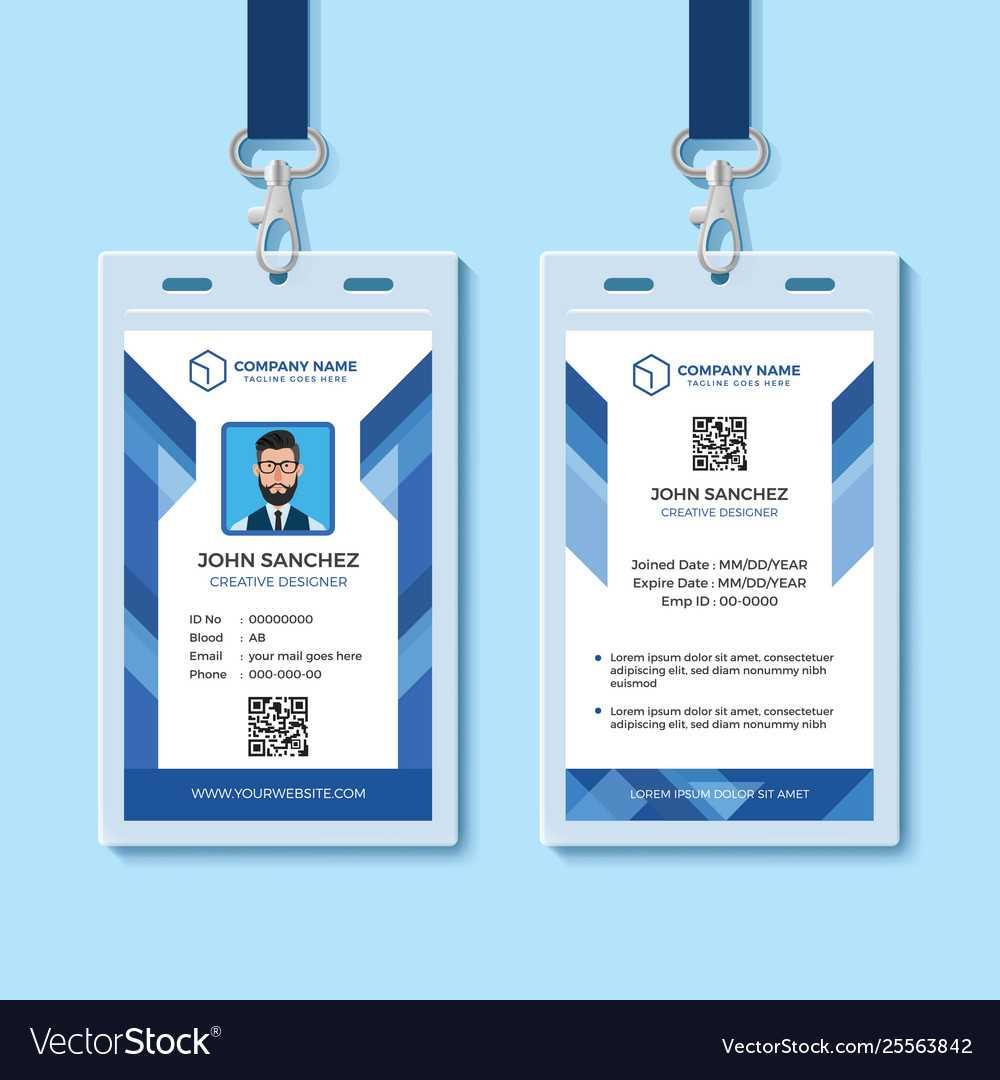 Blue Employee Id Card Design Template In Company Id Card Design Template